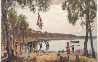 """Founding of Australia by Capt. A Phillip R.N. Sydney Cove, Jan. 26th 1788""  by Algernon Talmage RA courtesy of State Library, New South Wales"